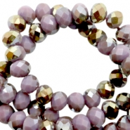 Top Facet kralen 6x4 mm disc Very grape purple-half gold pearl high shine coating
