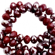 Top Facet kralen 4x3 mm disc Tawny port red-half silver pearl high shine coating