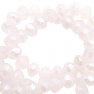 Top Facet kralen 4x3 mm disc Light rose alabaster pink-pearl high shine coating