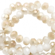 Top Facet kralen 4x3 mm disc Vivid white-half topaz pearl high shine coating