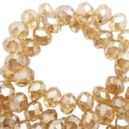 Top Facet kralen 4x3 mm disc Sandlewood champagne-pearl high shine coating
