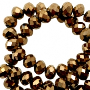 Top Facet kralen 6x4 mm disc Bronze brown-metallic pearl high shine coating