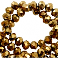 Top Facet kralen 6x4 mm disc Gold-metallic pearl high shine coating