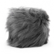 Pompom bedel faux fur Anthracite grey