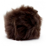 Pompom bedel faux fur Dark brown