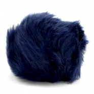 Pompom bedel faux fur Dark blue