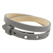Cuoio armbanden leer 8 mm dubbel voor 12 mm cabochon Anthracite grey
