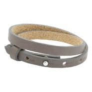 Cuoio armbanden leer 8 mm dubbel voor 12 mm cabochon Dark natural taupe