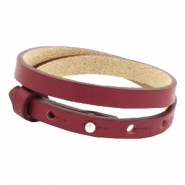 Cuoio armbanden leer 8 mm dubbel voor 12 mm cabochon Tawny port red