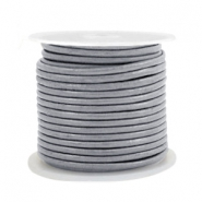 DQ leer rond 2 mm Cool grey metallic