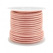 DQ leer rond 2 mm Vintage rose metallic