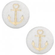 Houten cabochon anchor 20mm Silver