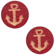 Houten cabochon anchor 12mm Cherry red