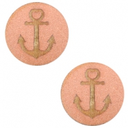 Houten cabochon anchor 12mm Rosegold