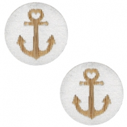 Houten cabochon anchor 12mm Silver