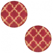 Houten cabochon Moroccan design 12mm Cherry red