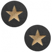 Houten cabochon star 12mm Black