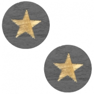 Houten cabochon star 12mm Dark grey