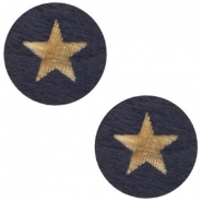 Houten cabochon star 12mm Dark blue