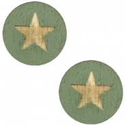 Houten cabochon star 12mm Dark green
