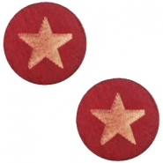 Houten cabochon star 12mm Cherry red