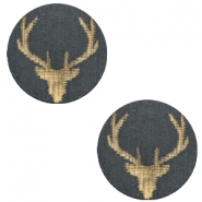 Houten cabochon reindeer 12mm Dark grey