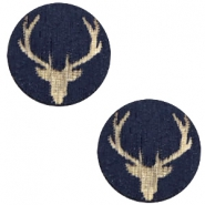 Houten cabochon reindeer 12mm Dark blue
