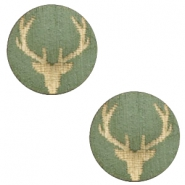 Houten cabochon reindeer 12mm Dark green