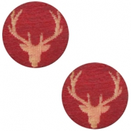 Houten cabochon reindeer 12mm Cherry red