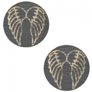 Houten cabochon angel wings 12mm Dark grey