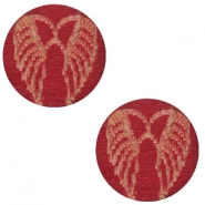 Houten cabochon angel wings 12mm Cherry red