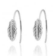 Trendy oorbellen open ring feather Silver
