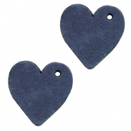 DQ leer hangers hart Dark denim blue