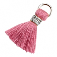 Kwastjes Ibiza style 1.8cm Silver-antique pink