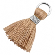 Kwastjes Ibiza style 1.8cm Silver-camel brown