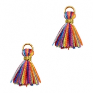 Kwastjes Ibiza style 1cm Gold-multicolour yellow orange