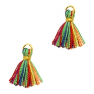 Kwastjes Ibiza style 1cm Gold-multicolour red green