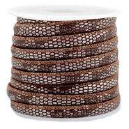 Gestikt leer imi 6x4mm reptile Chocolate brown