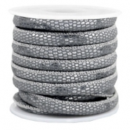 Gestikt leer imi 6x4mm reptile Anthracite grey