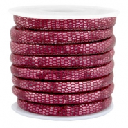 Gestikt leer imi 6x4mm reptile Mulberry red