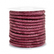 Gestikt leer imi 4x3mm reptile Mulberry red