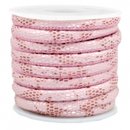 Gestikt leer imi 6x4mm reptile Light pink
