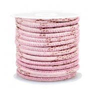 Gestikt leer imi 4x3mm reptile Light pink