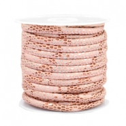 Gestikt leer imi 4x3mm reptile Rose peach