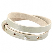 Cuoio armbanden leer 8mm dubbel voor 12mm cabochon Metallic sage light green