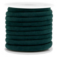 Trendy gestikt velvet koord 6x4mm Emerald green