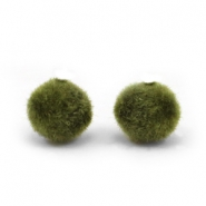 Velvet pompom kralen 8mm Army green