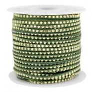 Imi suède 3mm met strass Gold-olive green