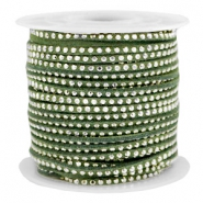 Imi suède 3mm met strass Silver-olive green