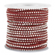 Imi suède 3mm met strass Silver-port red